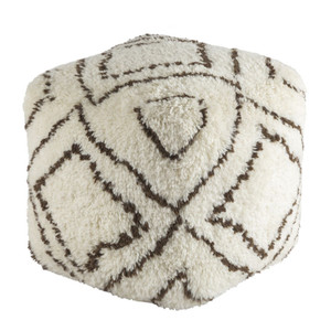 As Shown: Seventies Lounge Pouf - DEPF-2000 Size: 20 x 20 x 20 H inches Material: Hand Knotted Wool  Description: Hand-knotted, tactile wool in a graphic brown and white design elevates this pouf from seventies kitsch to seventies cool. Handmade in India and densely packed with shredded natural cotton, you'll lounge in glamorous style.