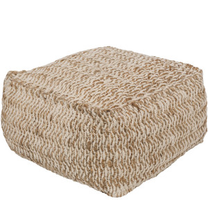 As Shown: La Spiaggia Pouf - OCPF-4000 Size: 20 x 20 x 12 H inches Material: Jute Cotton Blend  Description: Sunkissed Italian beaches inspired this cotton and jute pouf, handwoven in India, then densely packed with shredded cotton. Rest, relax and dream of Capri when you bring this touch of the Mediterranean to your home.