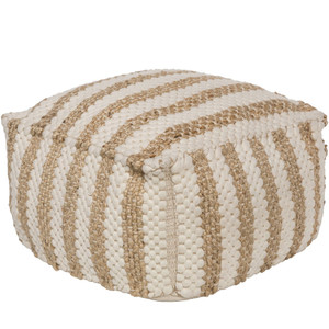 As Shown: La Plage Pouf - OCPF-4001 Size: 20 x 20 x 12 H inches Material: Jute Cotton Blend  Description: Sailor stripes in beachy hues of natural jute and off-white cotton turn this handmade in India pouf into the ideal ottoman or portable side/snack table. Sturdy and densely filled with shredded cotton, this soft pouf washes in a touch of the seaside.