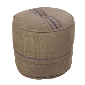 As Shown: French Country Pouf - POUF-13 Size: 18 diameter x 17 H inches Material: Jute  Description: Confident yet understated stripes of cobalt blue mark the old-world style and country character of this striped pouf, handmade in India. Of natural woven jute and densely filled with cotton, the color contrast creates a fresh appeal that is both now and timeless. You'll love this hard-working seat, ottoman or top with a tray for small snacks.
