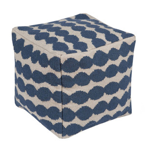 As Shown: East Bay Artisan Pouf - LJPF-001 Size: 20 x 20 x 20 H inches Material: Wool Cotton Blend  Description: A pouf with attitude, the East Bay Artisan's quality wool/cotton exterior features undulating blue spheres on a natural background. Densely stuffed with cotton, this handmade in India pouf provides any room with extra seating, an ottoman or a fascinating accent piece.