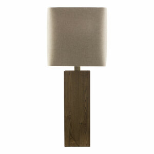 As Shown: Poste Table Lamp - LGS-624 Size: 13 x 13 x 32.5 H inches Material: Wood  Shade: Linen  Description: The rectangular wooden base of the Poste Table Lamp is capped by the natural texture of a square, ecru linen shade. Contemporary styling that fits into both traditional and modern décor.