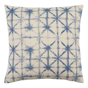 As Shown: Arimatsu Pillow - NEB-003 Size: 18 x 18 inches Material: Polyester with Linen in Blue  Description: Four hundred years of Japanese tie-dyeing tradition inspired this pillow's printed in three colors and sizes. We've brought the inspiration of that intensive, handcrafted technique to a modern printed poly/linen blend. A removable feather and down inner turns artistic beauty into practical luxury.