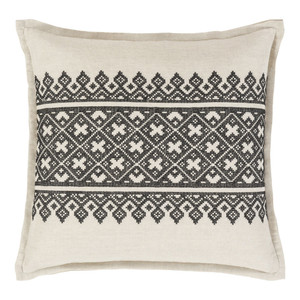As Shown: Old World Pillow - PEN-002 Size: 18 x 18 inches Material: Linen cotton blend in Black  Description: The cross-stitch motif of squares and triangles in this linen/cotton pillow straddles the old-world and the new. Quality craftsmanship from India speaks to the intricate, yet simple pattern in your choice of sizes and four colors. Charmingly filled with a removable inner of feather and down.