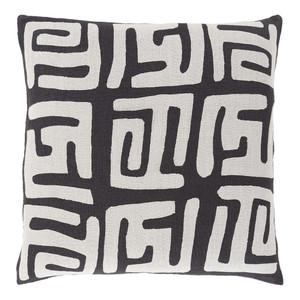 Modern Tribal Nsheng Pillow - NRB-006 18 x 18 inches Linen Black