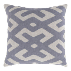 As Shown: Modern Tribal Kasai Pillow - NRB-003 Size: 18 x 18 inches Material: Linen in Grey   Description: The interlocking geometric designs of West Africa inspired this modern taken on a traditional throw pillow. Expert Indian artisans hand weave linen into a complex pattern, finally filling each pillow with feathers and down. Tribal flair in your of sizes and three colors.