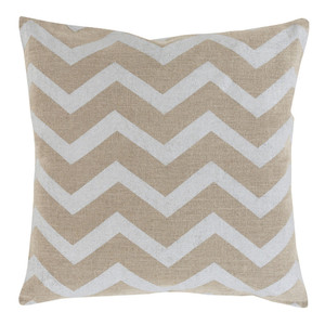 As Shown: Stamped Linen Chevron Pillow - MS-002 Size: 18 x 18 inches Material: Linen in Beige  Description: Indian artisans stamp exquisite linen in beige or gold chevron patterns for simple, refined pillows in three sizes. Never overdone, these pillows, filled with feather and down, comport themselves with ease in your modern or contemporary interior. Toss with others in the Stamped Linen collection.