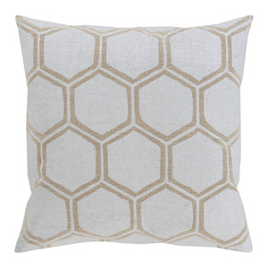 As Shown: Stamped Linen Honeycomb Pillow - MS-007 Size: 18 x 18 inches Material: Linen in Beige  Description: Celebrate the industrious work of busy, buzzy bees in these stamped linen honeycomb pillows in beige or gold linen. Choose from three sizes. Handmade in India, these are ideal companions to the other pillows in our Stamped Linen collection.