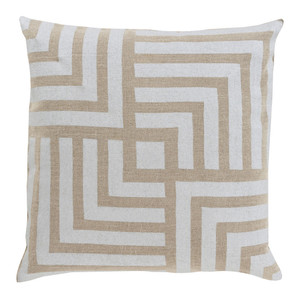 As Shown: Stamped Linen Maze Pillow - MS-004 Size: 18 x 18 inches Material: Linen in Beige  Description: The solution to this tangled maze? One of each of these stamped linen pillows in beige or gold on linen. Handmade in India in three sizes, each comes with a removable inner of feather and down. Elegant companions to other pillows in the Stamped Linen collection.