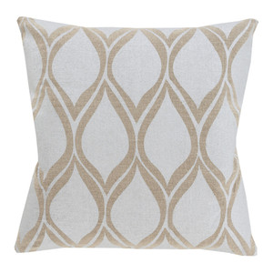 As Shown: Stamped Linen Droplet Pillow - MS-001 Size: 18 x 18 inches Material: Linen in Beige  Description: The classic droplet shape in beige or gold delivers maximum design impact on these stamped linen pillows in three sizes, handmade in India. Group with other pillows in our Stamped Linen collection for measured, graceful style.