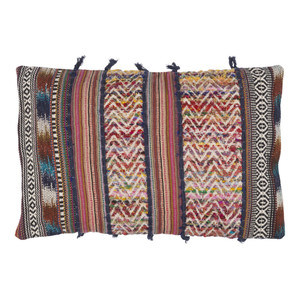 As Shown: Boho Chic Bohème Pillow - MR-001 Size: 14 x 22 inches Material: Polyester  Description: The universal appeal of boho chic is evident in these plump pillows from India. In two sizes, each features a removable goose feather and down inner for ultimate comfort. Handmade and just right for lounging, these free-spirited, bohemian inspired pillows luxuriate in effortless style.