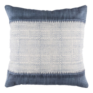 As Shown: Hmong Tshua Pillow - LL-008 Size: 30 x 30 inches Material: Cotton  Description: Less is not more. Not when referring to this large, feather and down stuffed cotton pillow, handmade in India. A Hmong-inspired batik pattern is bordered by faded indigo, hand stitched to create more than the sum of the parts.