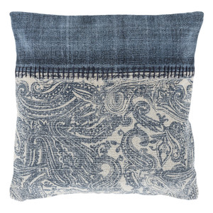 As Shown: Hmong Teev Pillow - LL-009 Size: 20 x 20 inches Material: Cotton  Description: You'll barely notice the time passing when supported by this handmade in India pillow of paisley patterned, muted indigo and cream. The faded band is hand stitched for rustic authenticity. Comfortably plump with a removable goose feather and down inner.