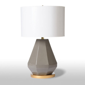 As Shown: Jewel Cuts Table Lamp Size: 15 diameter x 24 H inches Material: Ceramic Color: Grey Shade: Painted Parchment  Description: Picture a diamond. Now turn it upside down. This ceramic lamp's facets (choose putty grey or bright white) define its symmetry and balance. The glossy white painted parchment drum shade balances the effortless design.