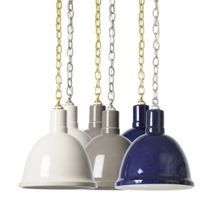 As Shown: Glazed Pendant Lamp Size: 12.5 diameter x 14.5 H inches   Material: Hand-Glazed Fired Ceramic Color: Off-White, Grey, Navy  Description:  Three color choices of handmade in the USA, hand-glazed fired ceramic, this pendant lamp comes with a 3-foot brass or nickel chain. A fresh, new way to light modern spaces that harkens back to a simpler era.