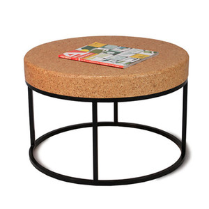 Nimbus Cork Round Coffee Table 24 diameter x 16 H inches Sustainable Cork, Steel Caramelized, Black