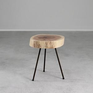 White Oak Tripod Table 15-17 dia x 17 H inches White Oak, Steel
