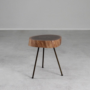 As Shown: Black Walnut Tripod Table Size: 15-17 dia x 17 H inches (each is unique, please allow for variation) Material: Black Walnut, Steel Finish: Natural, Bronze Topcoat: Interior