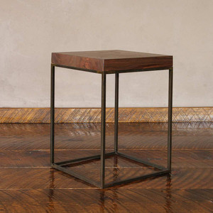Midtown Side Table 15 x 15 x 22 H inches Black Walnut, Steel