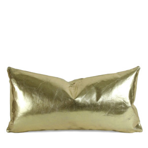 As Shown: Gold Standard Leather Pillow Size: 9 x 18 inches Material: Leather Color: Gold
