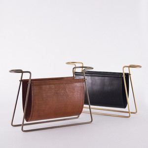 As Shown: Leather Magazine Holder Size: 23 x 6.5 x 14 H inches Material: Leather, Metal Color: Antique Brown and Black Leather