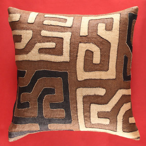 As Shown: Sankuru Kuba Pillow Size: 20 x 20 inches Material: Raffia