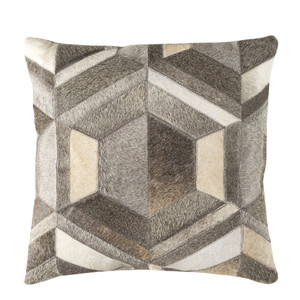 As Shown: Cowhide Pillow - LCN-002 Size: 18 x 18 inches Material: Hair-On Cowhide  Description: A diamond in the rough, this pillow brings together seamed strips of white, cream and shades of grey hair-on cowhide to form the perfect pillow. Perfectly faceted for the ultimate comfort in your interior.