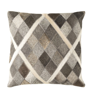 As Shown: Cowhide Pillow - LCN-004 Size: 18 x 18 inches Material: Hair-On Cowhide  Description:  Playful and with a hint of fancy, the Hair-on Harlequin Pillow's diamond pattern is seamed by Indian artisans. The cream, brown and greys create a touchable, neutral accent in décors from rustic to sophisticated.