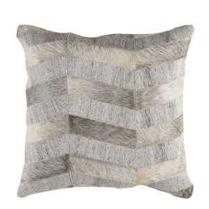 As Shown: Cowhide Pillow - MOD-001 Size: 18 x 18 inches Material: Hair-On Cowhide  Description: Like the waves of a silvery lake, the individual strips of hair-on cowhide form an undulating pattern on this handmade pillow. See and feel the movement – this pillow draws you into its touchable depths.
