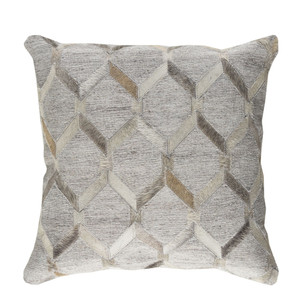 As Shown: Cowhide Pillow - MOD-003 Size: 18 x 18 inches Material: Hair-On Cowhide  Description: Hair-on strips of cowhide in neutral tones weave their way around this pillow in a classic lattice pattern that adds a touch of elegance and intrigue to any décor. Individually made by hand by Indian artisans, each pillow is filled with a removable feather and down inner and finished with a hidden zipper.