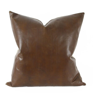 As Shown: Tobacco Brown Leather Pillow Size: 22 x 22 inches Material: Leather