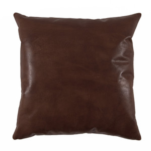 As Shown: Chocolate Brown Leather Pillow Size: 20 x 20 inches Material: Leather