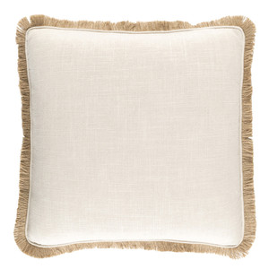 Lucia Fringe Pillow Size: 18 x 18 inches Material: Linen and Viscose in White