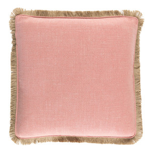 Lucia Fringe Pillow - ELY-002 Size: 18 x 18 inches Material: Linen and Viscose in Coral  Description: What a beauty - a luscious center ground is even more intriguing when surrounded by a neutral fringe border. In three delicious shades, this pillow adds character and a fresh punch to effortlessly elegant interiors.