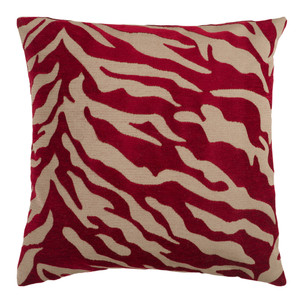 Animal Magnetism Pillow - JS-026 Size: 18 x 18 inches Material: Polyester in Burgundy    Description: A zebra pattern in lush velvet reigns supreme on this elegant pillow. In six rich shades, it is the epitome of modern cool from townhouse to penthouse.