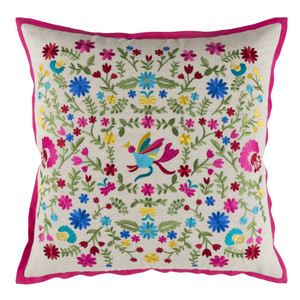 Secret Garden Embroidered Pillow - PVO-001 Size: 18 x 18 inches Material: Linen Cotton  Description: Dainty embroidered flowers scatter over a white linen field fenced in with a fuchsia flange, forming a fresh pillow that's ripe for the picking.