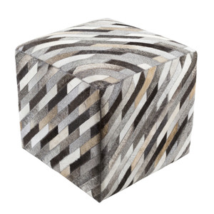 As Shown: Diagonal Hide Pouf - LCPF-003 Size: 18 x 18 x 18 H inches Material: Hair-On Cowhide  Description: Neutrals interact with a perfect play of dark and light, rustic and tailored in a hair-on cowhide pouf. By hand artisans seam a patchwork of hair-on cowhide over an upholstered body. Each is individual to you, please allow for variation in color and markings.
