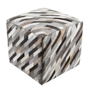 Diagonal Hide Pouf - LCPF-003 18 x 18 x 18 H inches Cowhide