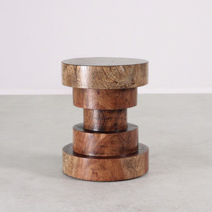 Sandoval Stool Table 16 dia x 20 H inches Light Walnut Finish Sealed Topcoat