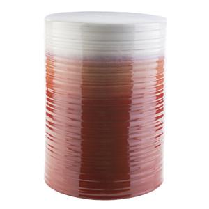 As Shown: La Isla Glazed Ceramic Stool - WAV-328 Size: 13 x 13 x 18 H inches Material: Ceramic in Dark Red