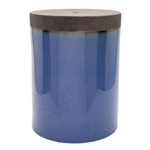 As Shown: Prisma Glazed Ceramic Stool - PLS-004  Size: 13 x 13 x 18 H inches Material: Ceramic in Blue  Description: A raw top section makes for a striking contrast in a glossy glazed ceramic table in glorious hues. Perfect for indoors or out, these distinctive pieces are the perfect objects to bring color into your space in an unexpected way.
