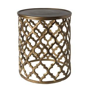 As Shown: Filigiri Table - HMMT-101 Size: 16.5 x 16.5 x 19.5 H inches Material: Aluminum in Antique Gold  Description: A lovely filigree side table brings in sculptural grace and airiness - imparting the look of old-world metal in a modern lightweight piece.