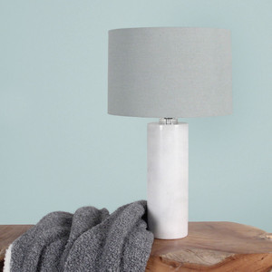Laffitte Marble Table Lamp - RND-100 Size: 15 dia x 25.5 H inches Material: Marble with Linen Shade