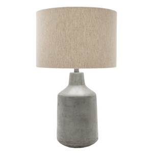 Shoreham Concrete Table Lamp - FMN-100 Size: 15 dia x 25 H inches Material: Grey Concrete with Beige Linen Shade  Description: A concrete lamp impresses in a classic shape available in two neutrals for perfect fresh simplicity. Made by hand, concrete is blended with sand and fiberglass to create a lightweight and durable material.