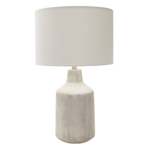 Shoreham Concrete Table Lamp Size: 15 dia x 25 H inches Material: Off-White Concrete with White Linen Shade