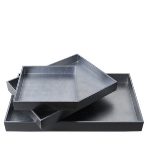 As Shown: Salon Nesting Trays - KTA-005 Size: 8.7 x 8.7 x 1.6 inches, 14.2 x 10.6 x 1.8 inches and 19.7 x 11.8 x 2 inches Material: Wooden board in Navy & Silver  Description:  In rich color surrounding a metallic interior, you'll serve your cocktails or maintain your trinkets in opulent order with a trio of at-the-ready painted wood nesting trays.