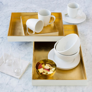 Salon Nesting Trays - KTA-005 8.7 x 8.7 x 1.6 inches, 14.2 x 10.6 x 1.8 inches and 19.7 x 11.8 x 2 inches Lacquered MDF White, Gold