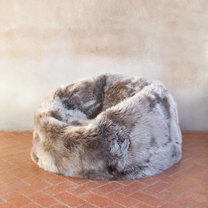 As Shown: Sheepskin Bean Bag Size: 36 dia inches Material: Sheepskin Wool in Vole