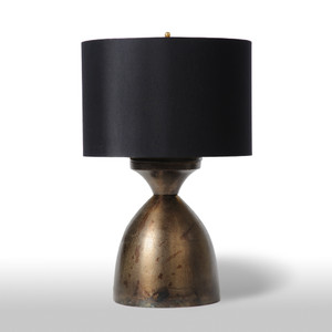 As Shown: Bronze Bowl Table Lamp Size: 15 dia x 24 H inches Material: Bronze Finish on Aluminum Shade: Silk with Gold Liner  Description: Steadfast and sturdy in a burnished bronze finish, this handsome piece is crafted by hand in the USA and is ready to lend gravitas to your desk or nightstand.