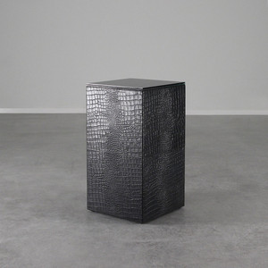 Outback Crocodile Leather Cube 12 x 12 x 22.5 H inches Leather, Glass